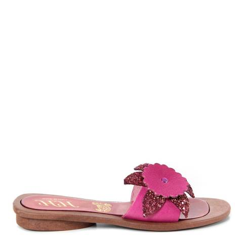 HH Made in Italy Fuschia Leather Giant Glitter Flower Sandal