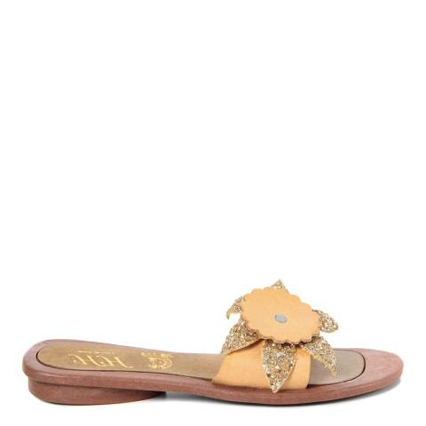 HH Made in Italy Yellow Leather Giant Glitter Flower Sandal