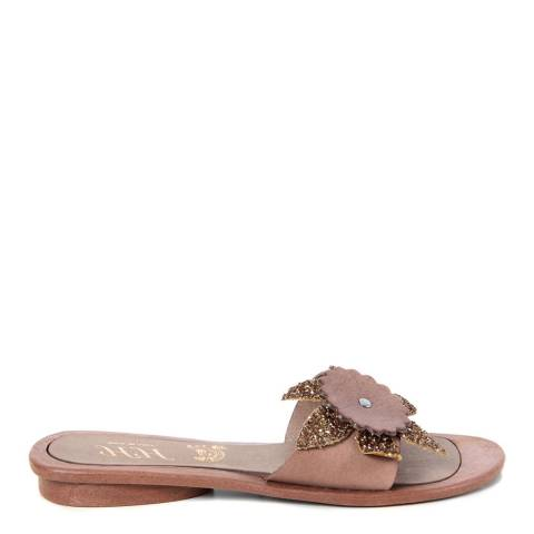 HH Made in Italy Light Brown Leather Giant Glitter Flower Sandal