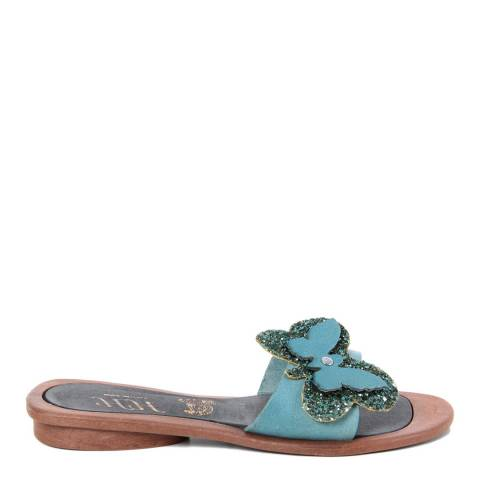 HH Made in Italy Light Blue Leather Glitter Butterfly Sandal