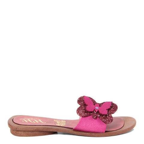 HH Made in Italy Pink Leather Glitter Butterfly Sandal