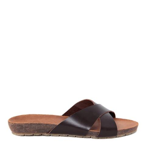 HH Made in Italy Dark Brown Leather Cross Front Sandal