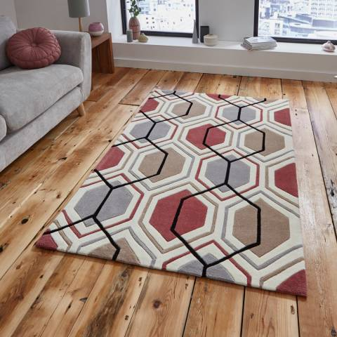 Think Rugs Grey/Peach Hong Kong 7526 150x230cm Rug