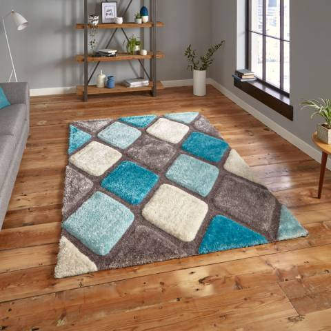 Think Rugs Grey/Blue Noble House 9247 150x230cm Rug