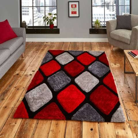 Think Rugs Grey/Red Noble House 9247 120x170cm Rug