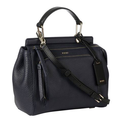 DKNY Navy Leather Small Top Handle Satchel