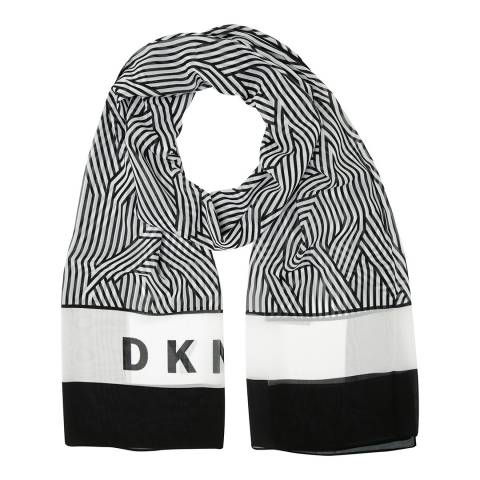 DKNY Black & White Cross Walk Logo Scarf
