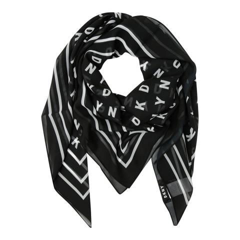 DKNY Black Foulard High Contrast Scarf