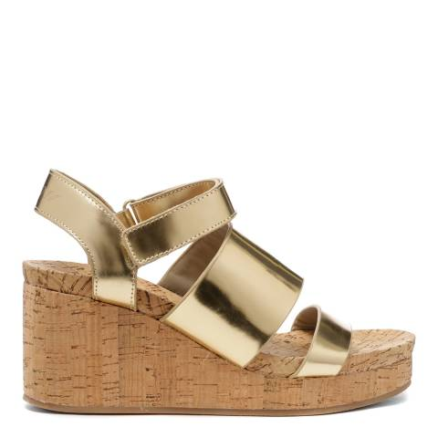DKNY Metallic Gold Leather Lora Wedges