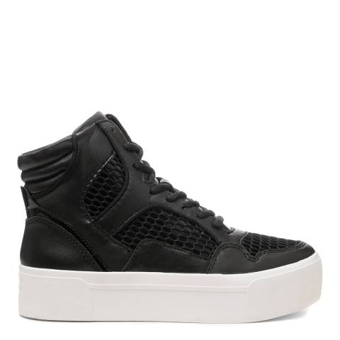 DKNY Black Leather And Mesh Bosley High Top Platform Sneakers
