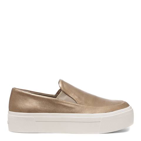 DKNY Gold Powdered Suede Bessie Slip On Platform Sneakers