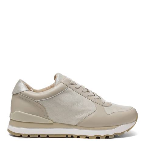 DKNY Taupe And Gold Leather Jamie Sneakers