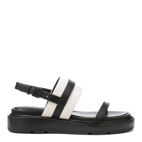 DKNY Black And Cream Leather Cassie Sling Back Sandal