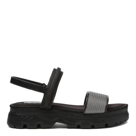 DKNY Black Cassie Multi Strap Flatforms