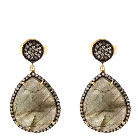 Liv Oliver Labradorite and Diamond Drop Earrings