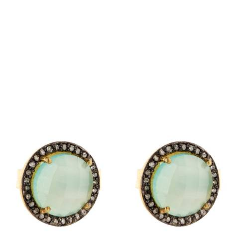 Liv Oliver Sea Green Chalcedony and Diamond Halo Stud Earrings