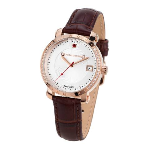 Chrono Diamond Women's Brown Stainless Steel/Leather Damenuhr Nesta Watch