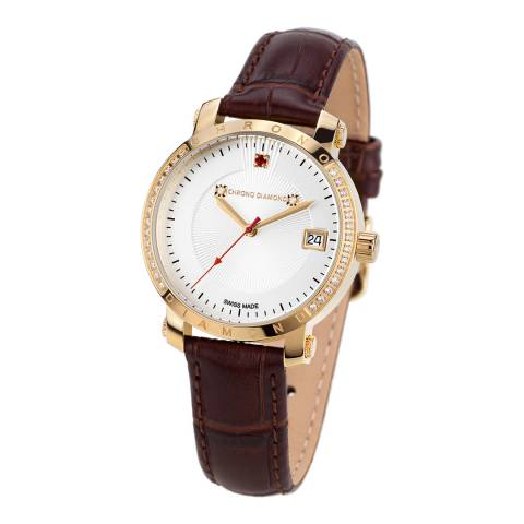 Chrono Diamond Women's Brown Stainless Steel/Leather Damenuhr Nesta Watch