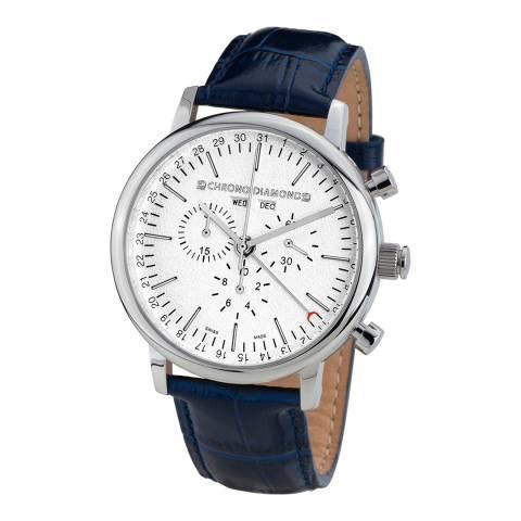 Chrono Diamond Men's Blue Stainless Steel/Leather Herrenuhr Argos Watch