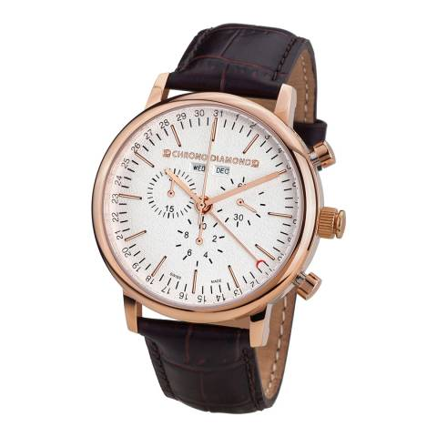 Chrono Diamond Men's Brown Stainless Steel/Leather Herrenuhr Argos Watch