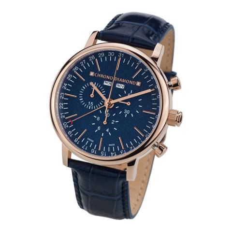 Chrono Diamond Men's Blue Stainless Steel/Leather Herrenuhr Argos Watch