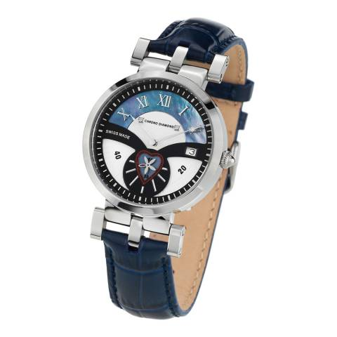 Chrono Diamond Women's Blue Stainless Steel/Leather Damenuhr Feronia Watch