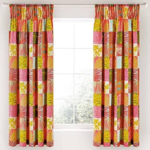 Clarissa Hulse Mini Patchwork Lined Curtains, Pink