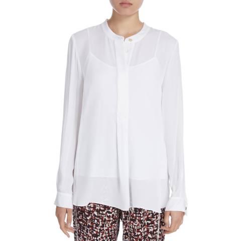 Donna Karan New York Ivory Silk Long Sleeve Henley Shirt