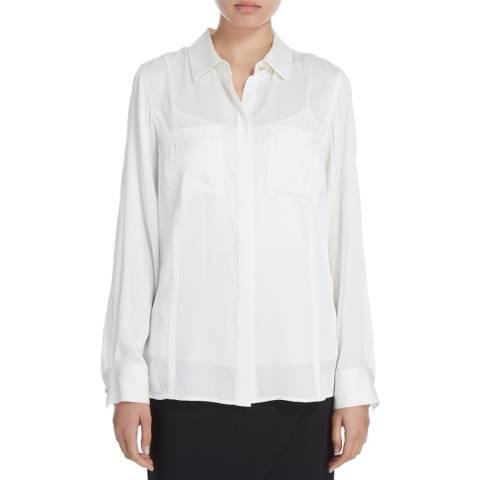 Donna Karan New York Ivory Silk Long Sleeve Blouse