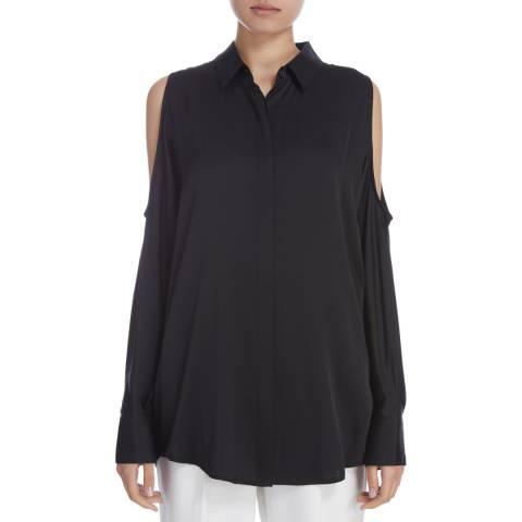 Donna Karan New York Black Long Sleeve Cold Shoulder Blouse