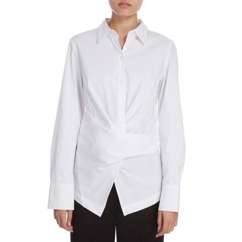 Donna Karan New York White Long Sleeve Collared Wrap Shirt