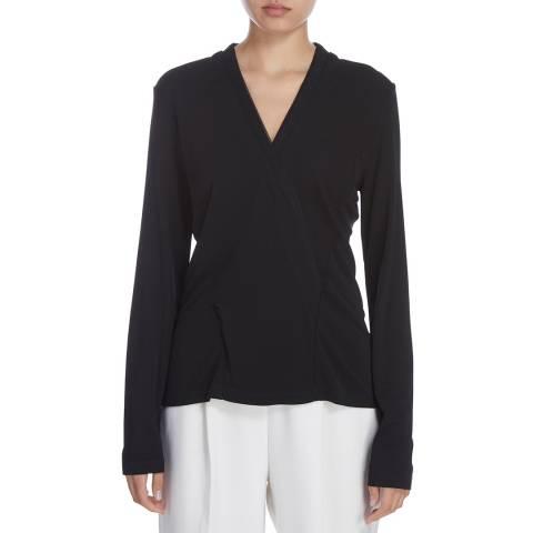 Donna Karan New York Black Long Sleeve Pleated Wrap Top