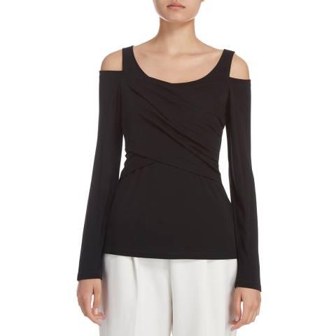 Donna Karan New York Black Long Sleeve Knit Crossover Top