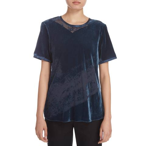 Donna Karan New York Burnout Velvet Short Sleeve Crew Neck Top