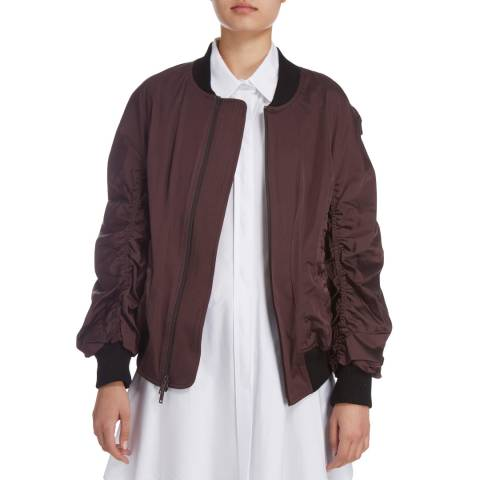 Donna Karan New York Aubergine Bomber With Rib Trims