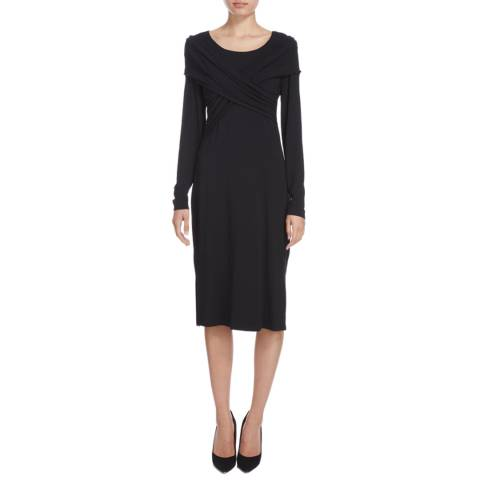 Donna Karan New York Black Long Sleeve Wrap Front Dress