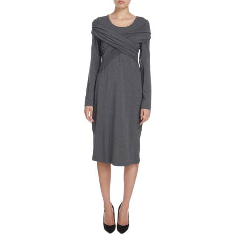 Donna Karan New York Dark Grey Long Sleeve Wrap Front Dress