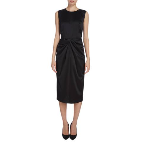Donna Karan New York Black Sleeveless Drape Front Dress