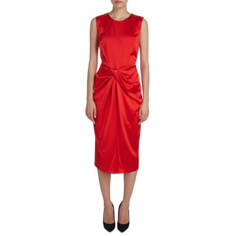 Donna Karan New York Red Sleeveless Drape Front Dress