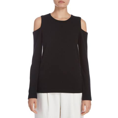 Donna Karan New York Black Cashmere Cold Shoulder Top
