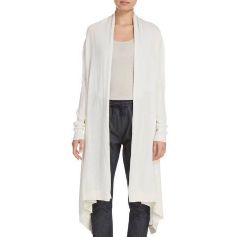 Donna Karan New York Ivory Long Sleeve Silk/Merino Blend Cardigan