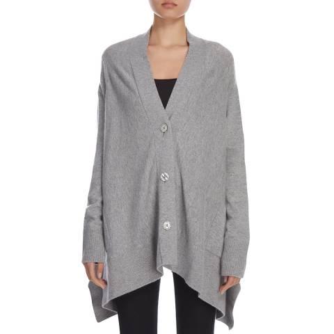 Donna Karan New York Heather Grey Long Sleeve V Neck Cardigan