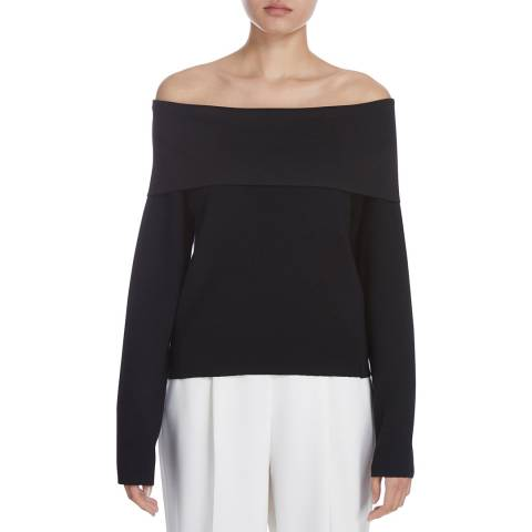 Donna Karan New York Black Long Sleeve Foldover Neck Wool Blend Top