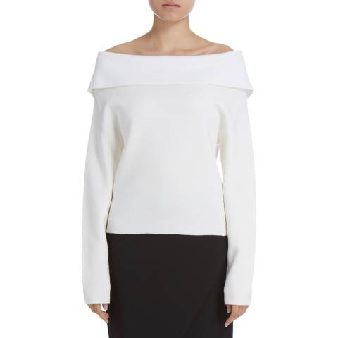 Donna Karan New York Ivory Long Sleeve Foldover Neck Wool Blend Top