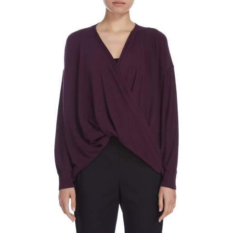 Donna Karan New York Aubergine Long Sleeve Crossover Top
