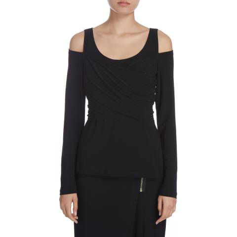 DKNY Black Long Sleeve Knit Crossover Top