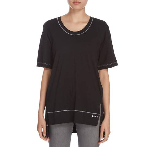 DKNY Black Cotton Short Sleeve Crew Neck Top