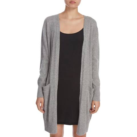 Donna Karan New York Heather Grey Long Sleeve Cashmere Cardigan