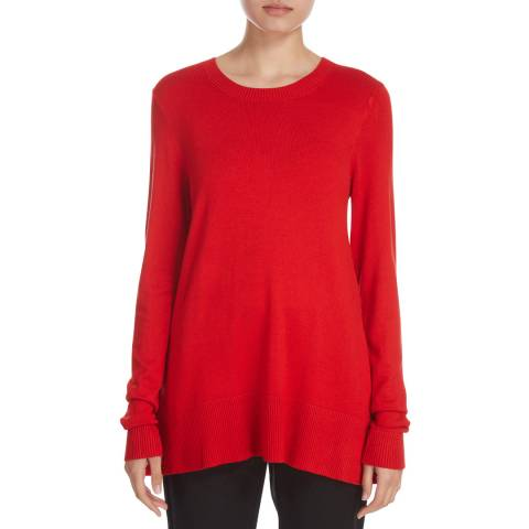 DKNY Red Long Sleeve Crew Neck Top