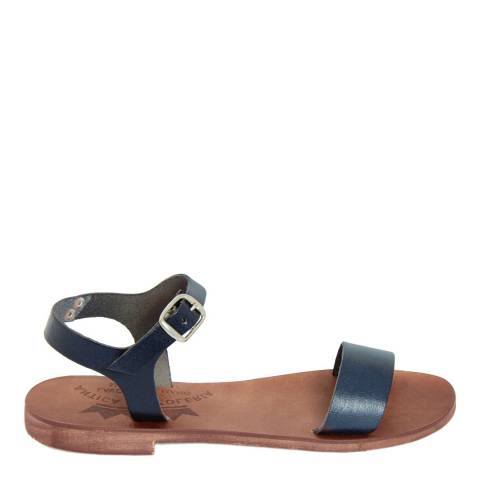 Antica Calzoleria Navy Blue Leather Single Strap Sandal